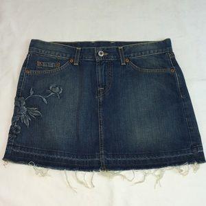 Lucky Brand Mini Skirt Denim Unhemmed Flower Embro